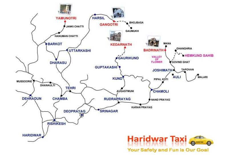 Haridwar to Chardham Road Map